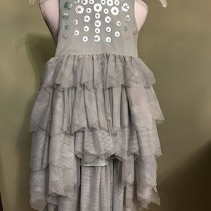 Girl's Pale Green Sequined Hi Low Dress, 5-6 yrs